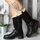 Ladies Womens Winter Warm Fleece Lined Zip Grip Buckle Mid Calf Boots Shoes Size
