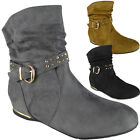 Womens Wedge Boots Ladies Faux Suede Buckle Slouch Ankle Low Heel Shoes Size