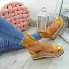 WOMENS LADIES ANKLE WRAP ESPADRILLE FLATFORM SANDALS HEEL SUMMER SHOES SIZE