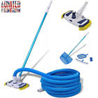 Swimming Pool Spa Vacuum Cleaning Set Cleaner Brush Leaf Skimmer Telescopic Pole