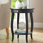 Round Accent Table with Drawer, Multiple Colors
