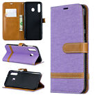 Purple Premium Retro canvas Wallet PU Leather Stand Cover Case for various phone