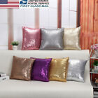US STOCK Glitter Sequins Home Decor Linen Pillow Case Sofa Throw Cushion Cover image