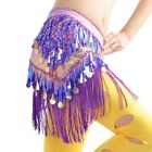 Womens Belly Dance Hip Scarf Skirt Triangle Sequins Belt Tassels Dance Clothing