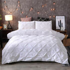 Duvet Cover Set Pinch Pillow Sham Pinch Pleat Pintuck Polyester For Comforter