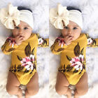 USA Newborn Infant Baby Girls Romper Playsuit Bodysuit Outfits Clothes+ Headband