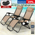 Set of 2 Adjustable Zero Gravity Chair Patio Folding Recliner w/Cup+Phone Holder
