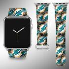 Miami Dolphins Apple Watch Band 38 40 42 44 mm Fabric Leather Strap 1 on eBay