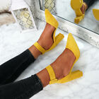 WOMENS LADIES HIGH BLOCK HEEL ANKLE STRAP PUMPS POINTED TOE PARTY SHOES SIZE