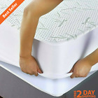 Soft Waterproof Bamboo Mattress Protector Hypoallergenic Comfy Fitted Cover Pad image