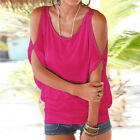 Women Summer Cold Shoulder Tee Top Blouse Cut Out Bat Sleeve Casual Tops T-Shirt