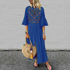 US Women Floral Flare Sleeve Dress Ladies Summer Beach Holiday Dresses Plus Size