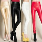 Fleece Lined Skinny Slim Stretch Pull On Faux Leather Pants Tight High Waist