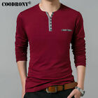 Coodrony Cotton T Shirt Men 2018 Spring Autumn New Long Sleeve T-Shirt Men Henry