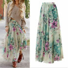 Plus Size Women Summer Chiffon BOHO Floral Beach Long Maxi Full Skirt Sun Dress