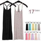 Women Layering Extra Long Racerback Stretch Cami Tank Top Bandage Mini Dress