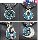 Special Necklace Marine Opal Pendant Nz Paua Shell Leather Silver Chain Jn11