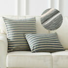 1/2x Chenille Stripe Throw Pillow Cushion Covers for Sofa Couch Bed Decoration image