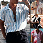 Mens Short Sleeve Button Down T-shirt Tops Slim Fit Casual Dress Stylish Shirts image
