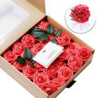 50pcs Artificial Flowers Coral Roses Crystal Roses For DIY Wedding Bouquets