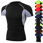 Mens Fitness Compression Shirt Workout Short Sleeve Top Gym Quick-dry Breathable