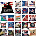 """18"""" Happy Independence Day Throw Pillow Case Sofa Cushion Cover Home Decorative image"""