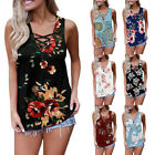 Womens Floral Sleeveless Criss Cross Front V-Neck T-Shirt Top Blouse Plus Size