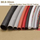 Silicone Rubber Heat Shrink Tubing Flexible Heatshrink Tube 0.8/2/3/4/5/6-30mm