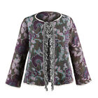 Catalog Classics Women's Fringe Front Jacquard Jacket - Floral Embroidered Coat