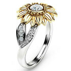 USA Women Sunflower Silver Rose Gold Ring Plated Zircon Promise Wedding Jewelry