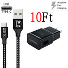OEM Samsung Galaxy S8 S9 S10 Plus Note8 9 Fast Wall Charger 3/6/10FT USB-C Cable