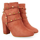 Ladies Block Heel Ankle Boots With Stud Details & Zip Winter Casual Shoes UK 3-8
