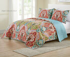Bohemian Quilt Colorful Reversible Teal Boho Bedding Queen / King Size Coverlet  image