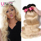 Used, T1b/613 Ombre Blonde Hair Bundle Black Roots 613 Body Wave Human Hair Extensions for sale  USA