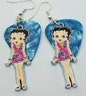 Betty Boop in a Pink with Purple Flower Dress Guitar Pick Earrings $7.97 CAD on eBay