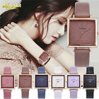 Women Fashion Leather Band Analog Quartz Square Quartz Wrist Watch Watches image