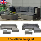 Garden Furniture Set 5 Piece Outdoor Sofa Chair And Table Lounge Poly Rattan New