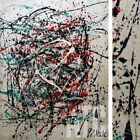"""30W""""x38H"""" VINTAGE ABSTRACT by JACKSON POLLOCK - PALE WHITES CHOICES of CANVAS"""