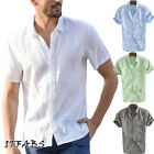 Summer Men Short Sleeve Casual Loose Linen T shirt Dress Shirt Blouse Tops Tee