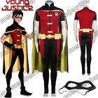 Adult Young Justice Robin Cosplay Costume Uniform Black Cloak Jumpsuit Cape
