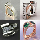 Unique Geometric 3D 925 Silver/Gold/Rose Gold Emerald Ring Women Wedding Jewelry image