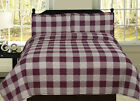 Buffalo Check Plaid Stripe Checkered Quilt Bedding Set, Red and White