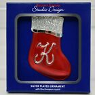 Regent Square Silver Plate Red Stocking Initial Christmas Ornament w/ Crystals