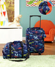 Внешний вид - 3 Pc Dinosaur Kids LUGGAGE MONOGRAM LETTER ROLLING SUITCASE DUFFEL BAG POUCH