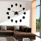 Skull Heads DIY Horror Wall Art Giant Clock Big Needle Time Frameless Home Gift