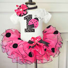 FixedPrice1st birthday baby girl dress outfits dots romper tutu headband sets 12 months