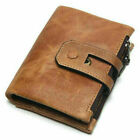 Trifold Vintage Leather RFID Blocking Wallet Mens Womens Magnetic Zip Coin Purse