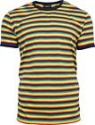 Run & Fly Rainbow Brights Striped Short Sleeve T-Shirt 70s Retro Indie