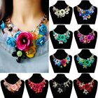 Crystal Fit Women Floral Chain Statement Bib Big Chunky Necklace Collar Jewelry