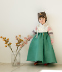 Green Hanbok Girl Baby Korea Traditional Dress First Birthday 1-8 Ages Party